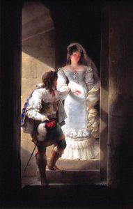 Isabey: Couple dans l'escalier de la tourelle du château d'Harcourt