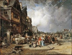 """L'arrivée de la diligence à Quimper-Corentin sous le directoire"""" (1873) de Jules Noêl"""